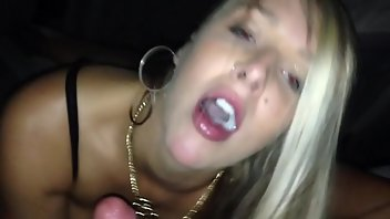 Tattoo Blonde Blowjob Swallow